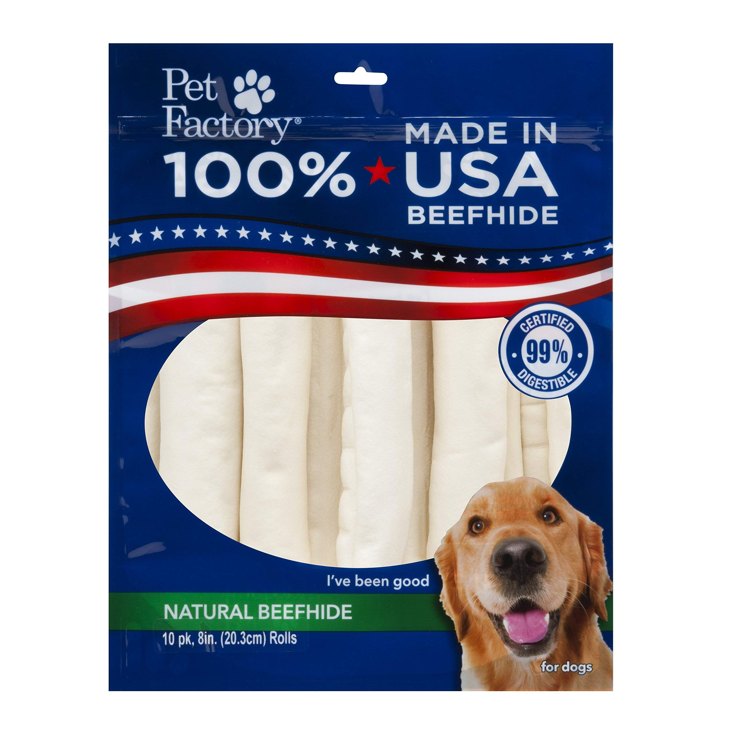 PET FACTORY USA Value-Pack Beefhide 8-Inch Retriever Rolls Chews for Dogs, 10-Pack (Package may Vary)) by Pet Factory