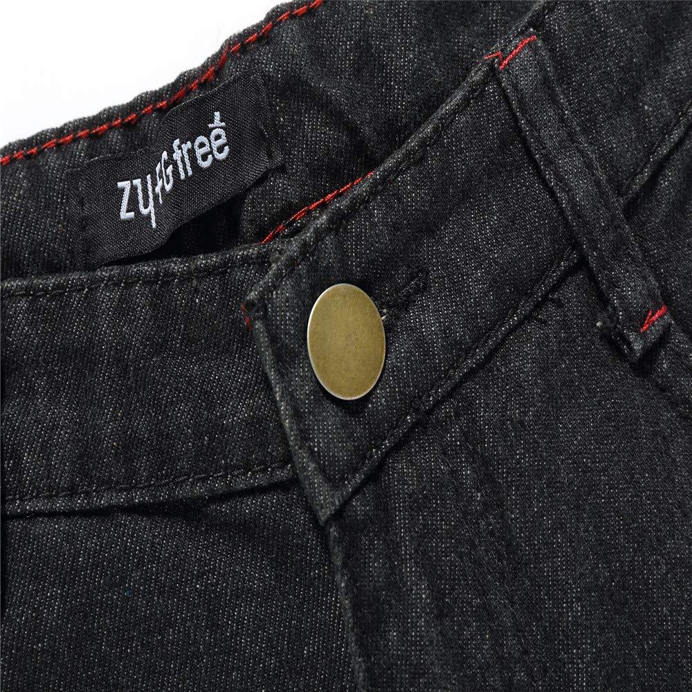 MODOQO Mens Straight Fit Jeans Cotton Vintage Hip Hop Ripped Hole Denim Pants