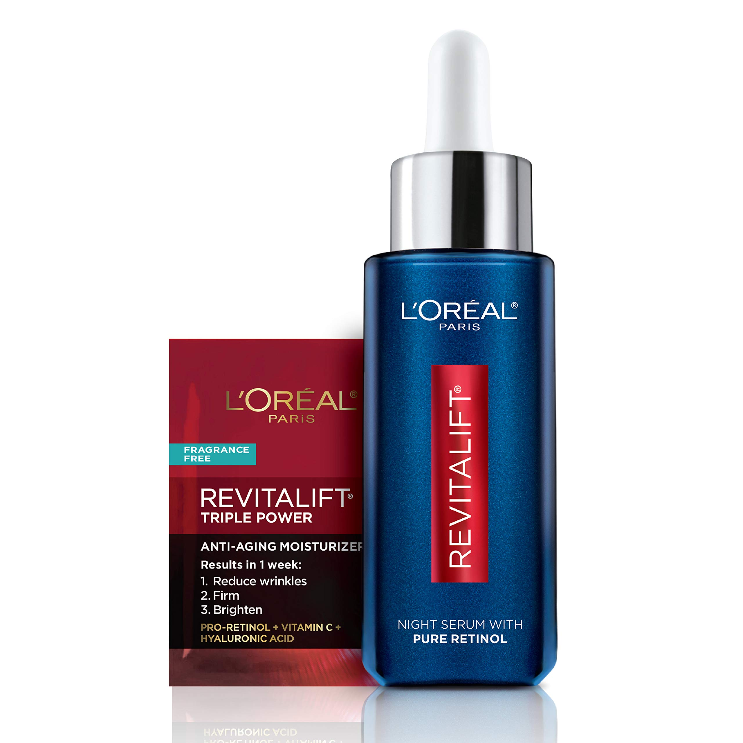 L'Oreal Paris Revitalift Derm Intensives Night Serum, Retinol Serum for Face, 0.3% Pure Retinol, Visibly Reduce Wrinkles, Even Deep Ones, 1 fl oz Serum + Moisturizer Cream Samples, Packaging May Vary