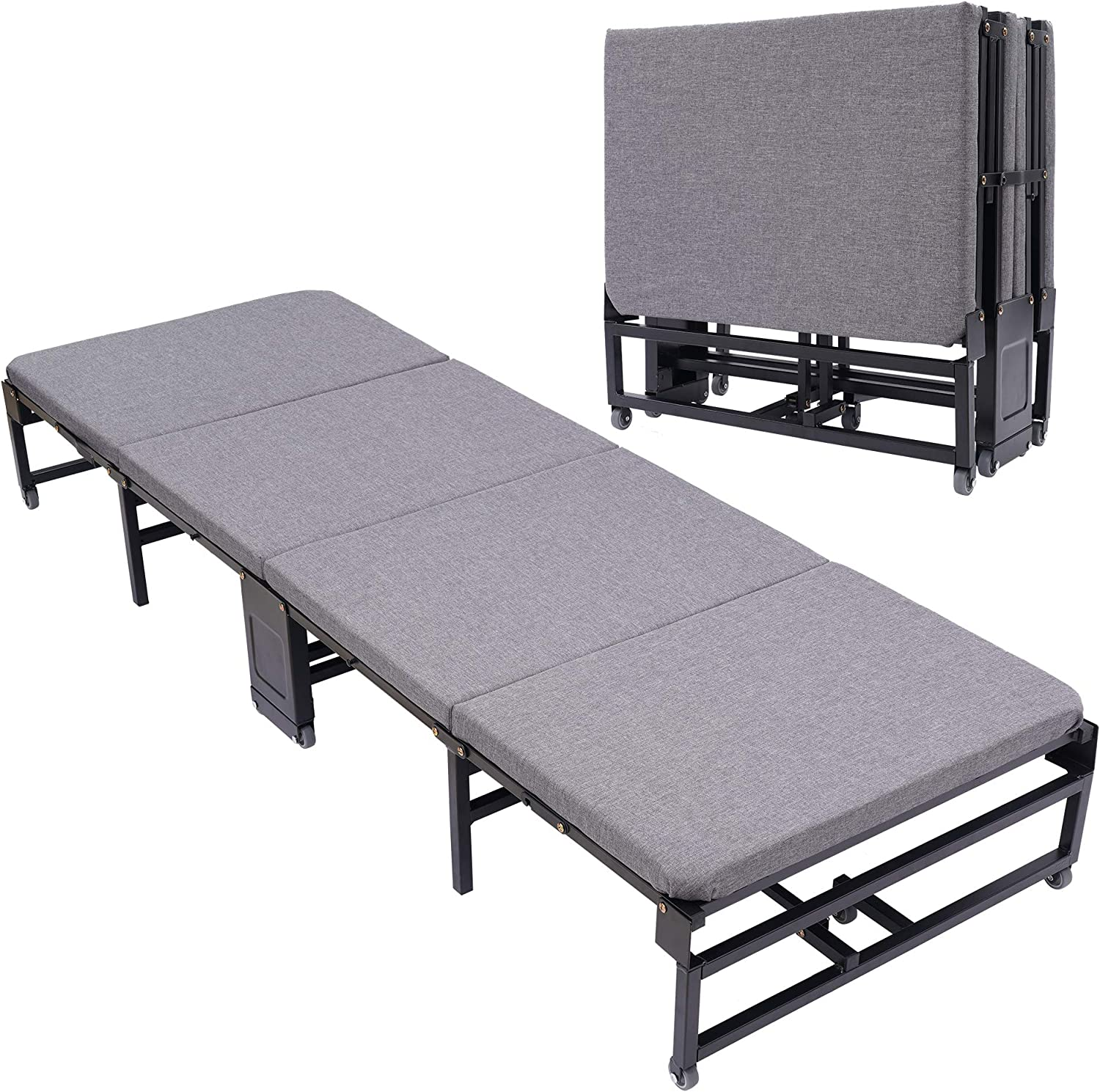 """Folding Bed Simple 4 Fold Portable Office Lounge Bed Home Adult Siesta Bed Cot - 74.8"""" L x 25.5"""" W x 11.8"""" H"""