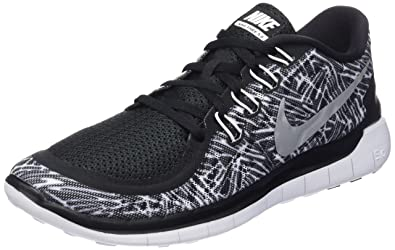 cheap for discount 59230 d7ec6 NIKE Women s Free 5.0 Print Black White White Running Shoe 6 Women US…