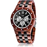 TJW Mens Natural wooden Watches Day Date Analog Quartz Handmade Casual Wrist Watch 8010 (black&red) gift