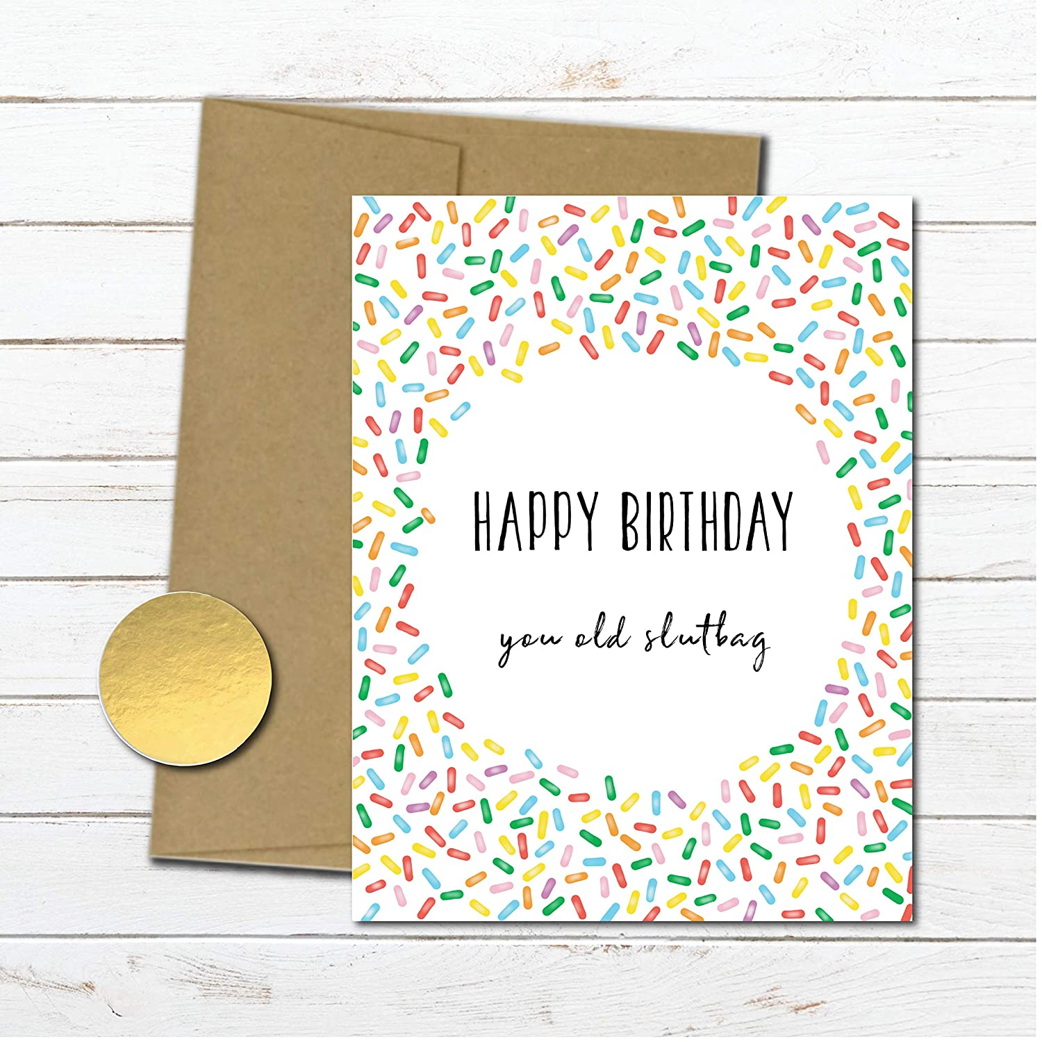 Amazon Rude Funny Birthday Card For Her Naughty Friend Mom Wife Gifts Sister Inappropriate Old Slutbag