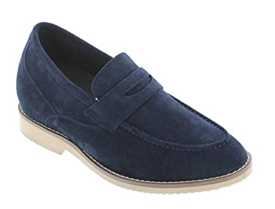 T66081-2.8 inches Taller - height Increasing Elevator Shoes - Nubuck Navy Blue Slip-On Casaul Shoes