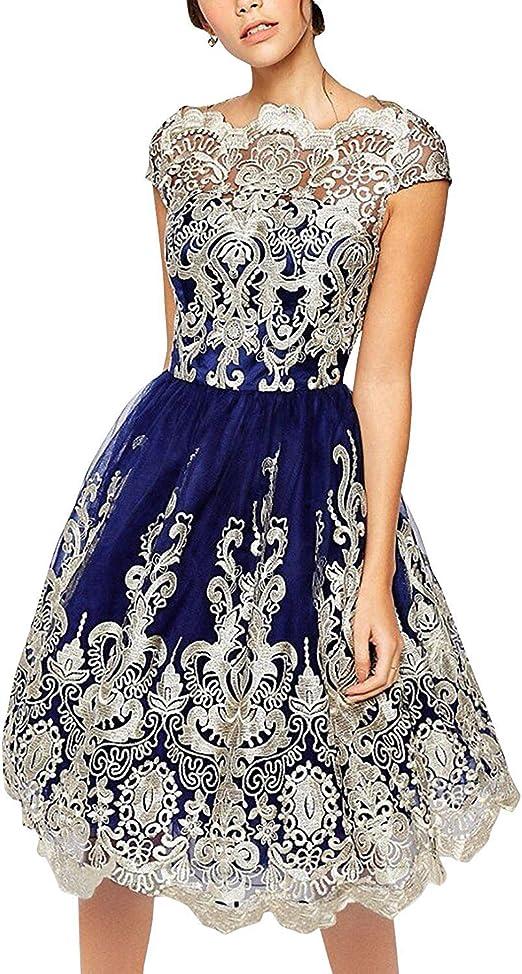 Haines Damen Spitzenkleid A Linie Knielang Abendkleid Elegante Cocktailkleider Partykleider Sommerkleider Kurze Ballkleider Amazon De Bekleidung