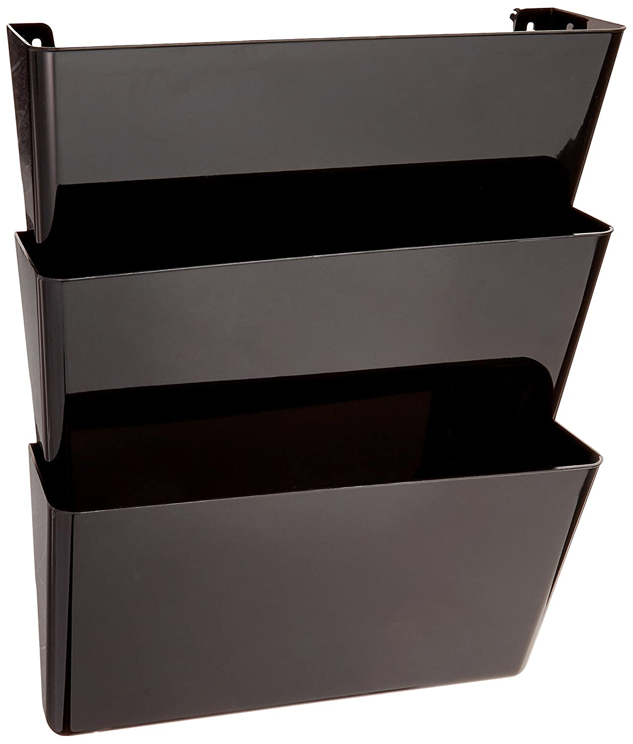 Stackable Wall File Organizer Set of 3 13W x 7H x 4D Recycled Content Letter Size Deflecto 93604 Sustainable Office DocuPocket Black