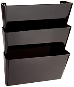 "Deflecto 93604 Sustainable Office DocuPocket, Recycled Content, Wall File Organizer, Stackable, Letter Size, Black, Set of 3, 13""W x 7""H x 4""D"
