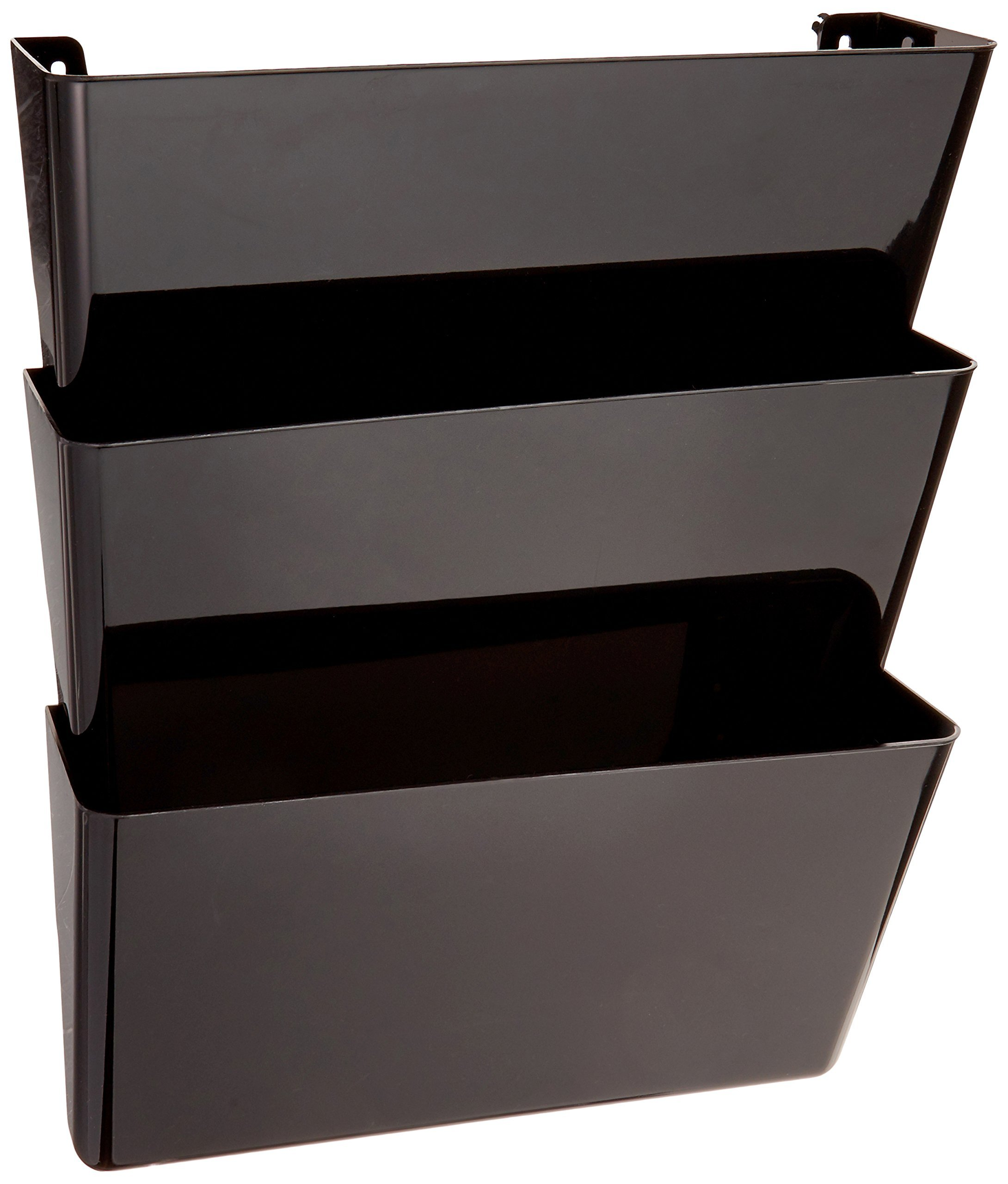 Deflecto Sustainable Office DocuPocket, Recycled Content, Wall File Organizer, Stackable, Letter Size, Black, Set of 3, 13''W x 7''H x 4''D by Deflecto