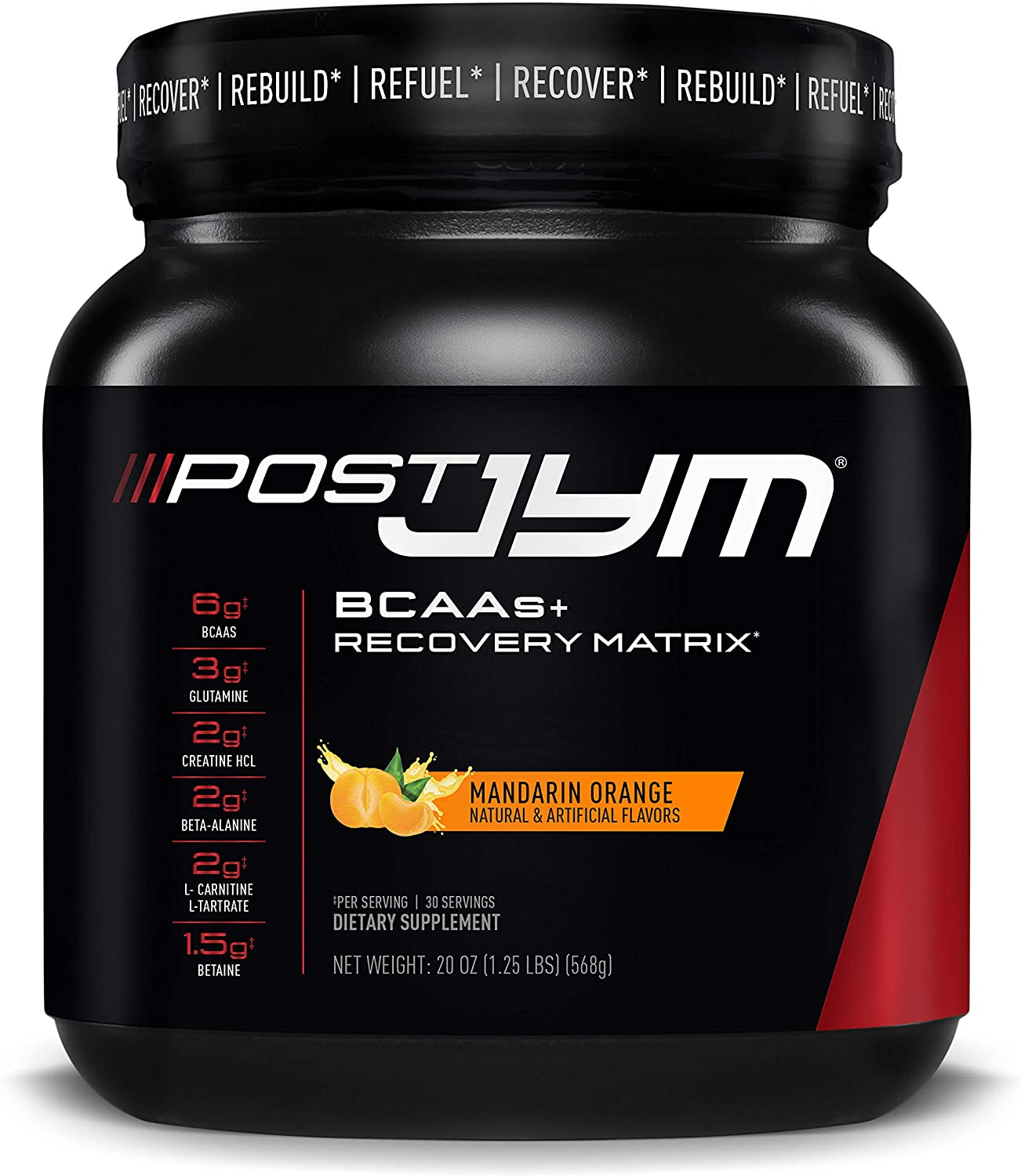 Post JYM Active Matrix - Post-Workout with BCAA's, Glutamine, Creatine HCL, Beta-Alanine, and More   JYM Supplement Science   Mandarin Orange Flavor, 30 Servings