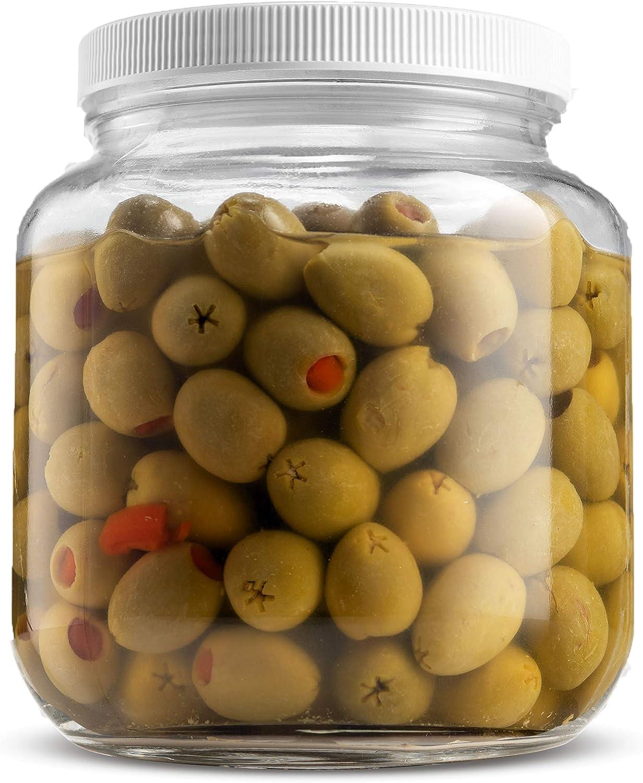 Half Gallon Glass Mason Jar (64 Oz) Wide Mouth with Plastic Airtight Lid, USDA Approved BPA-Free Dishwasher Safe Canning Jar for Fermenting, Sun Tea, Kombucha, Dry Food Storage, Clear (1 Pack)