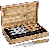 Steakmesser-Set Stan 4 Stück mit edlen Olivenholz-Griffen von Springlane Kitchen Steak-Messer-Set mit hochwertigen Holzgriffen, 12,5 cm Klingenlänge aus deutschem Stahl, sehr robust inkl. Geschenkbox