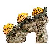 Bo-Toys Solar Powered Turtles on Log Outdoor Accent Lighting LED Garden Light Decor