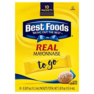Best Foods Real Mayonnaise For a Creamy Condiment for Sandwiches and Simple Meals Mayonnaise To Go Packets Gluten Free 3.8 oz 10 Ct, Pack of 6