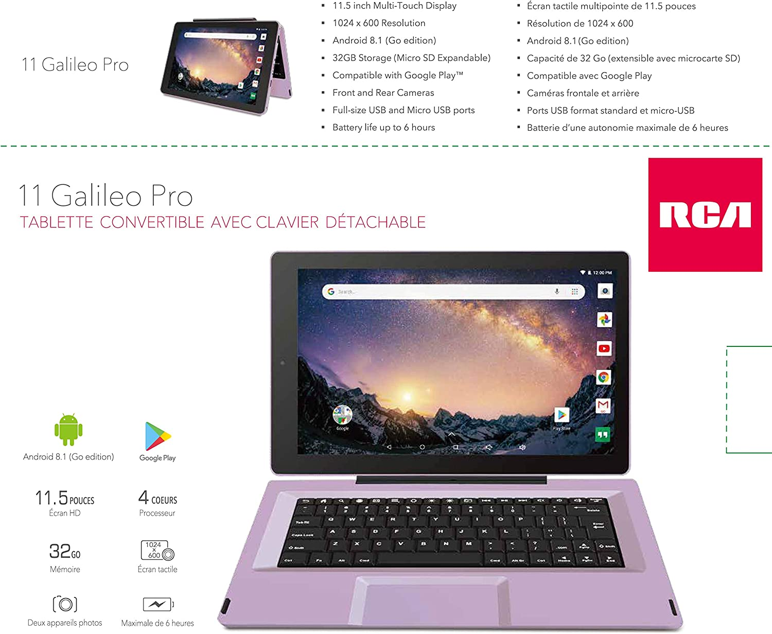 Newest Premium High Performance RCA 2-in-1 Touchscreen Tablet Quad-Core Processor 1G RAM 32GB Hard Drive Detachable-Keyboard Android 8.1 11.5, Lavender Go Edition