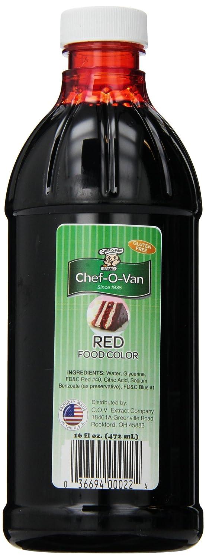 Chef O Van Red Food Coloring, 16 Oz