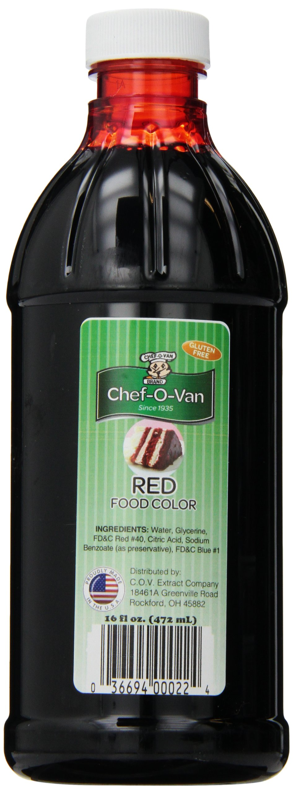 Chef-O-Van Food Coloring, Red, 16 Ounce