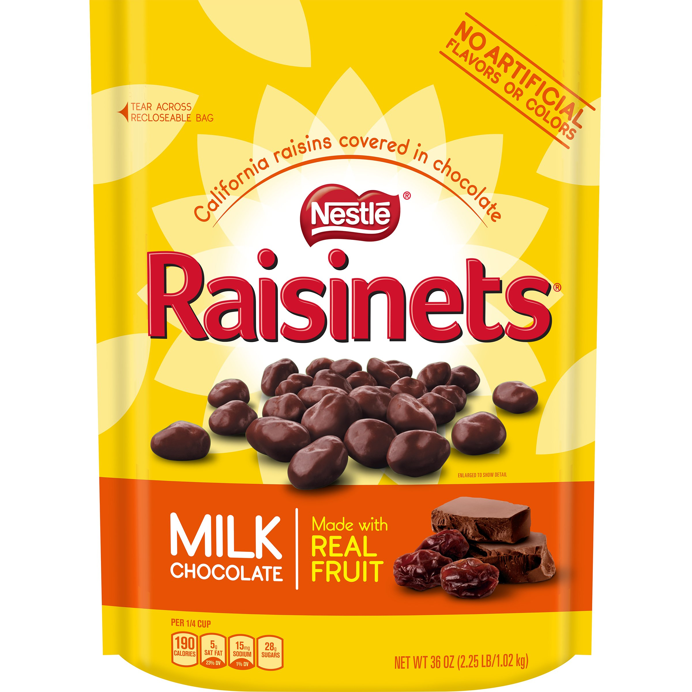 Raisinets Milk Chocolate Covered Raisin Candy, Large Resealable Bag, 36 Ounce by Raisinets