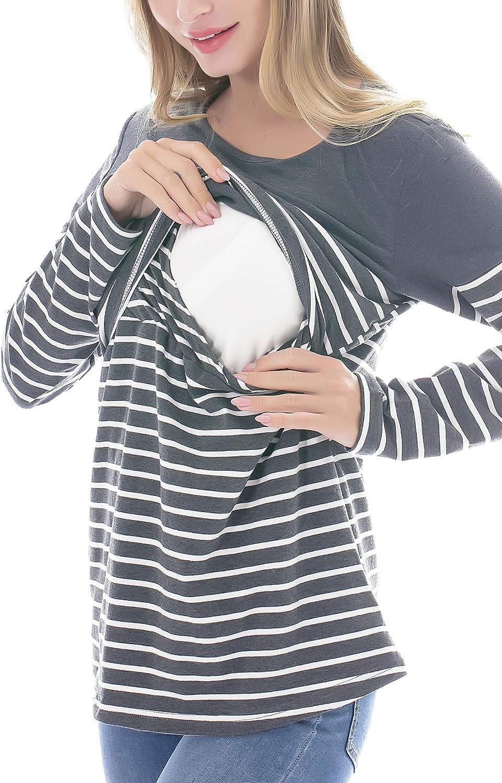 Smallshow Donna Allattamento Top Maniche Lunghe Maglietta Infermieristica Top Righe Casual Camicetta