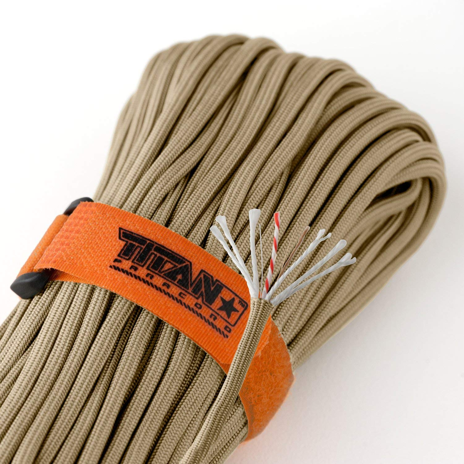 Titan SurvivorCord | Desert TAN | 103 Feet | Patented Military Type III 550 Paracord/Parachute Cord (3/16'' Diameter) with Integrated Fishing Line, Fire-Starter, and Utility Wire.