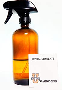 Empty Amber Glass Spray Bottle For Thieves Cleaning Large 16 oz Refillable Container Great for Essential Oils, Homemade Cleaner Products, Aromatherapy Black Trigger Sprayer w/Mist and Stream Setting