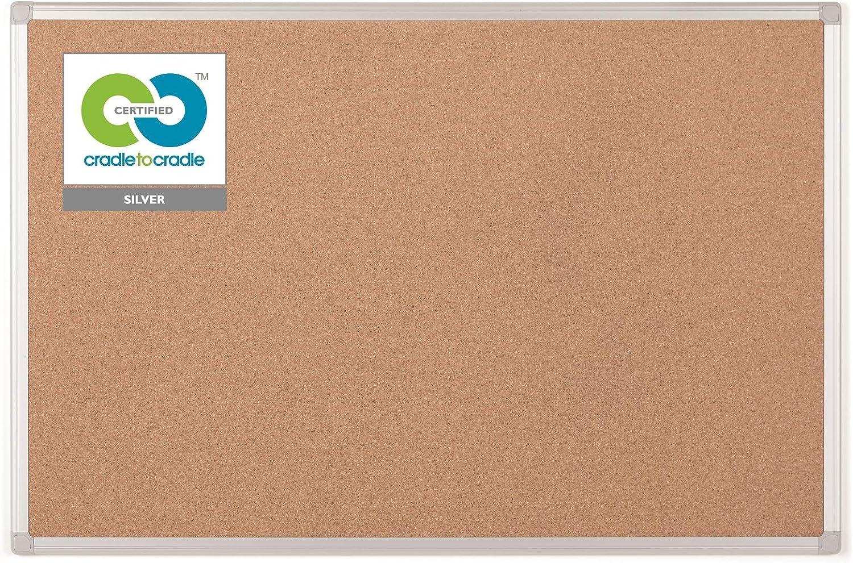 Bi-Office Earth - Tablero de Corcho, 90 x 60 cm, Tablón de Anuncios con Marco de Aluminio