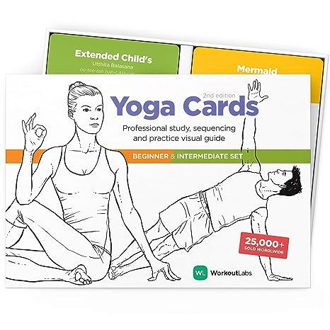 WorkoutLabs Tarjetas plásticas de Yoga con Lengua sánscrito ...