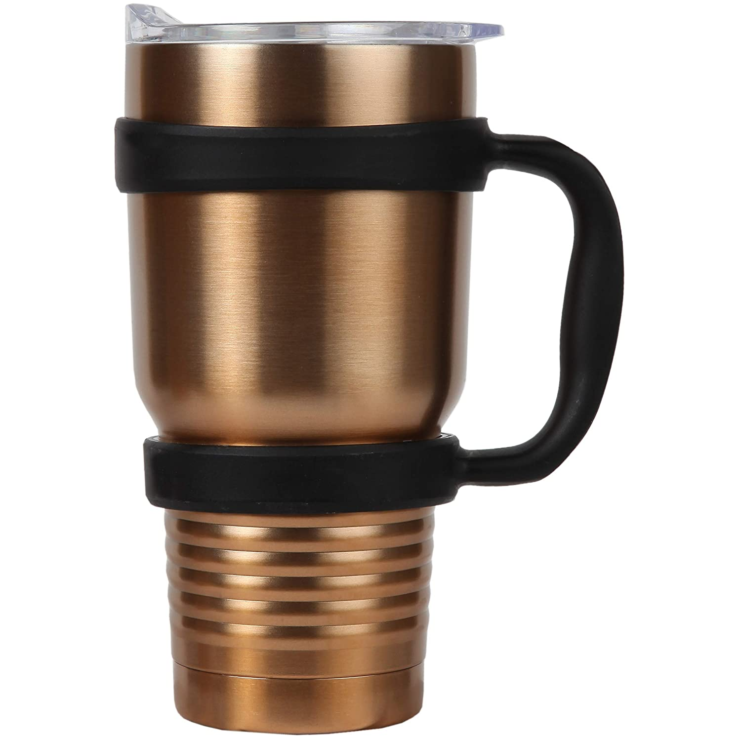 Trenton Gifts Double Wall Insulated Beverage Tumbler With Handle   Keeps Drinks Ice Cold for 24 Hrs or Piping Hot for 8 Hrs   Stainless Steel   Holds Up To 30 oz.