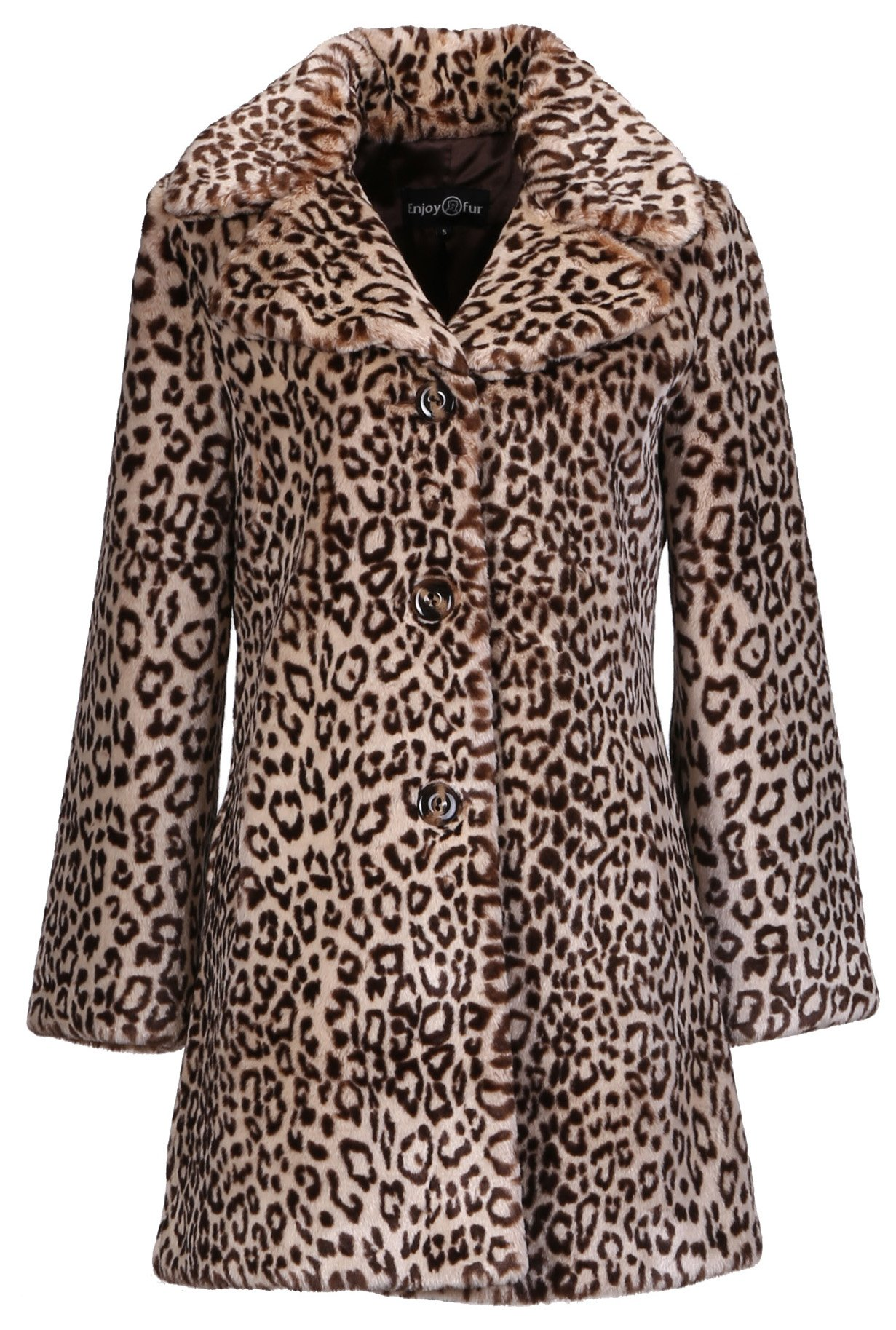 Enjoy Fur Women's Leopard Print New Style Faux Fur Coat (Small)