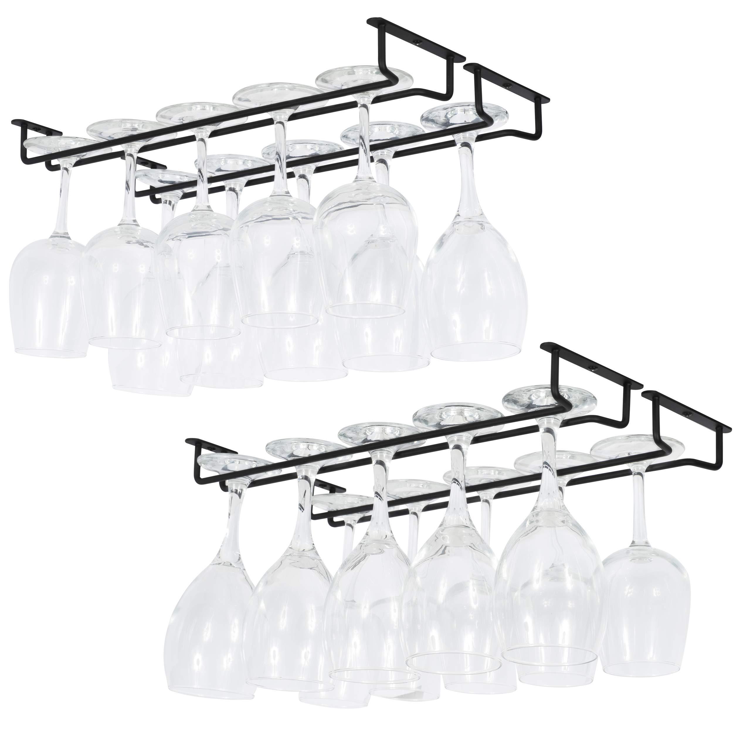 Wallniture Brix Large Stemware Wine Glass Hanger Rack Under Cabinet Kitchen Bar Storage Black Iron 17 Inch Set of 4 by Wallniture