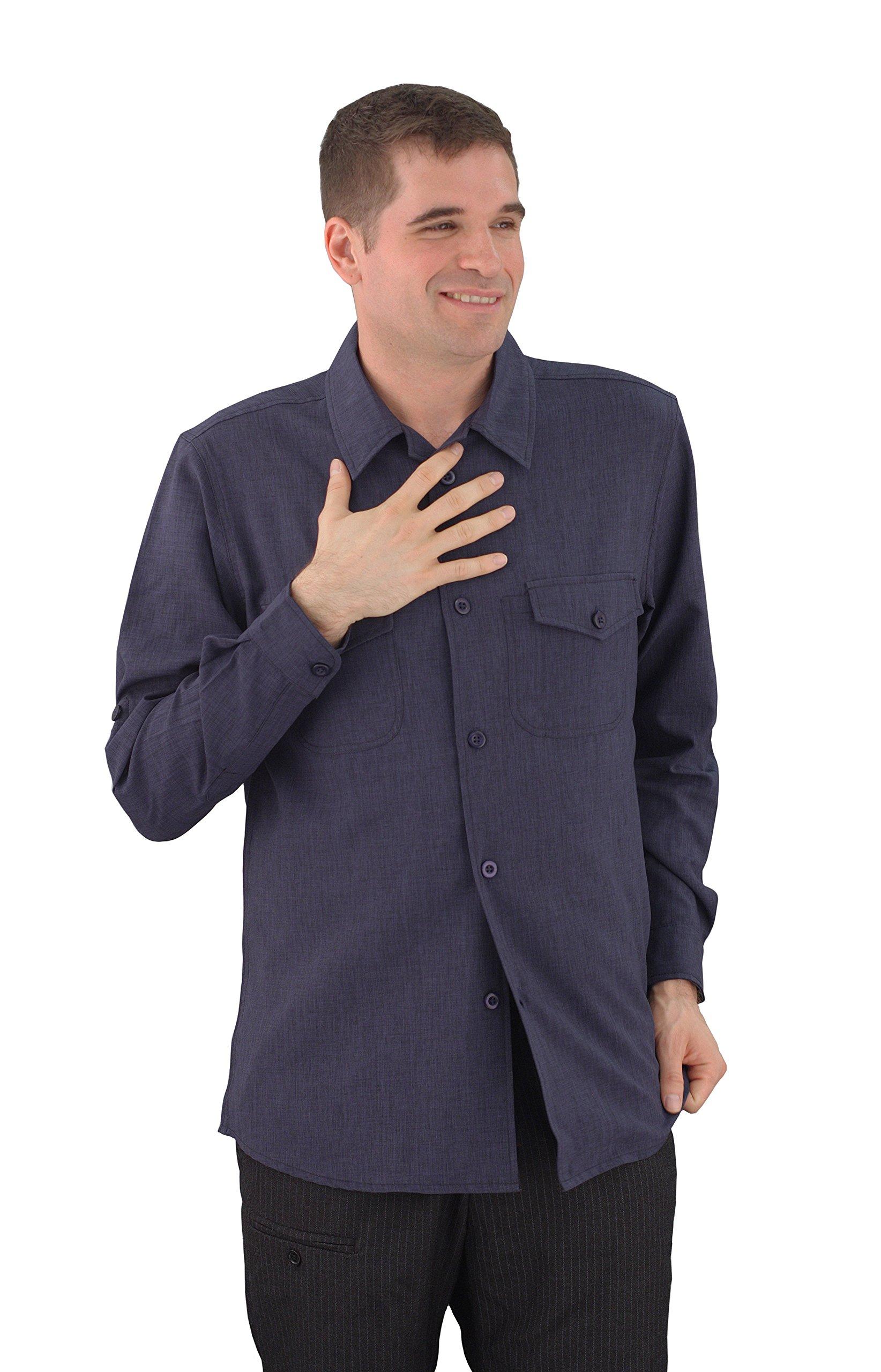 ASD Living Zanzibar Long Sleeve Dry Fit Server Waitstaff Shirt, X-Large, Navy Blue by ASD Living
