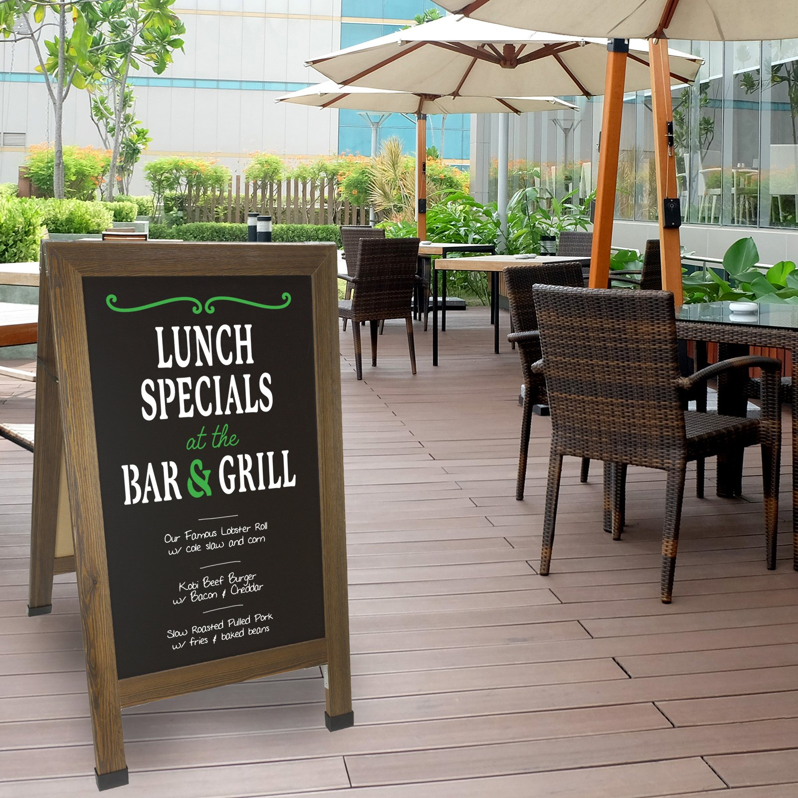 Sandwich Board Sidewalk Chalkboard Sign: REINFORCED, HEAVY-DUTY / 10 CHALK MARKERS / 40 PIECE STENCIL SET / CHALK / ERASER / DOUBLE SIDED / LARGE 40x23 Chalk Board Standing Sign A-Frame (Rustic) by Excello Global Products (Image #7)