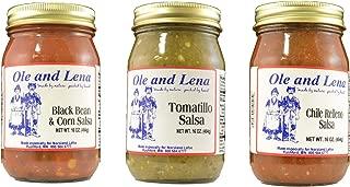 product image for Ole & Lena 3 Pack Salsa - Black Bean & Corn Salsa, Tomatillo Salsa, Chile Rellano Salsa