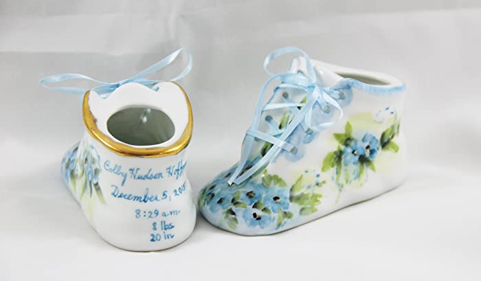 572ed4a9f99cb Porcelain Baby Shoe - Personalized Baby Boy or Girl Bootie - 100% Hand  Painted Ceramic Baby Shoe Keepsake