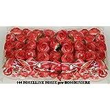 144 FIORELLINI ROSELLINE ROSSO per BOMBONIERE SPOSI COMPLEANNO