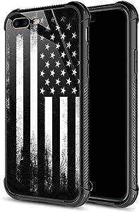 CARLOCA iPhone 8 Plus Case,Retro Black White American Flag iPhone 7 Plus Cases for Girls Boys,Graphic Design Shockproof Anti-Scratch Drop Protection Case for Apple iPhone 7/8 Plus