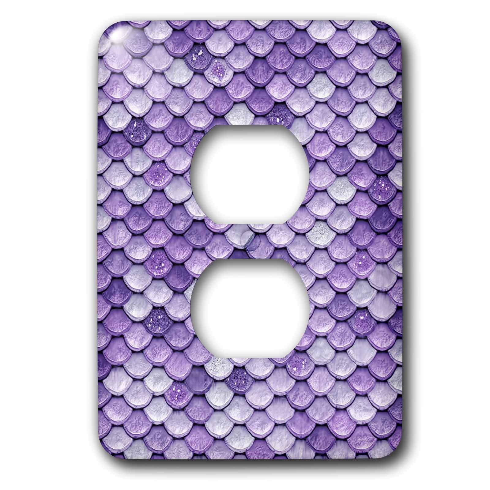 3dRose (lsp_266922_6) 2 Plug Outlet Cover (6) 2 Sparkling Luxury Elegant Purple Mermaid Scales Glitter Effect Art Print