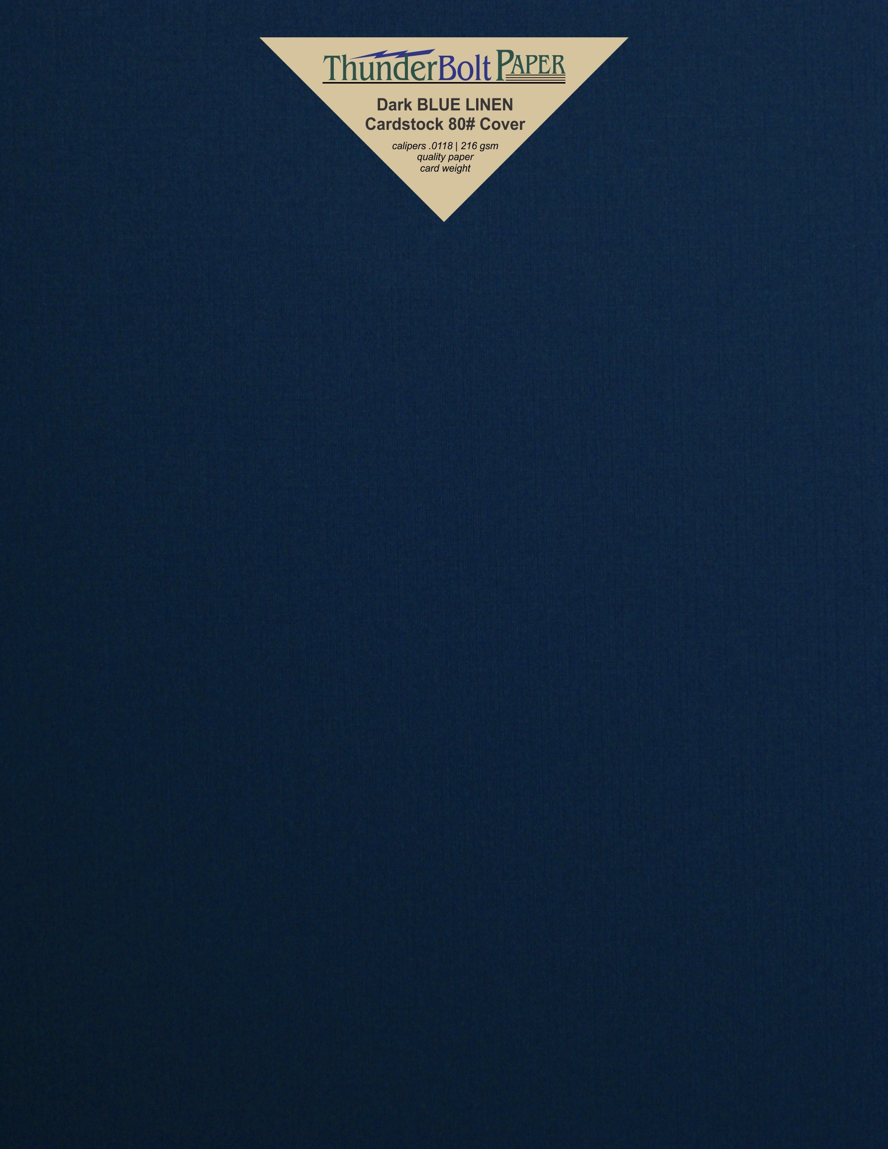 500 Dark Navy Blue Linen 80# Cover Paper Sheets - 8.5'' X 11'' (8.5X11 Inches) Standard Letter|Flyer Size - 80 lb/pound Card Weight - Fine Linen Textured Finish - Deep Dye Quality Cardstock