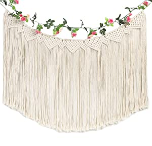 "TIMEYARD Macrame Woven Wall Hanging Curtain Fringe Banner - Boho Chic Wall Decor - Apartment Dorm Living Room Bedroom Nursery Art, Party Decoration, 48"" L x 28"" W"