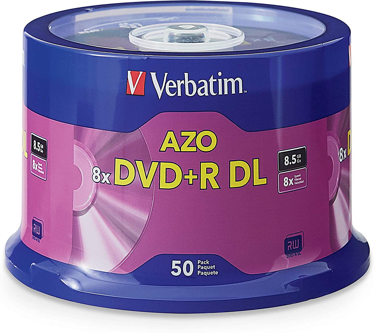 Amazon Com Verbatim Dvd R Dl 8 5gb 8x With Branded Surface 50pk Spindle Home Audio Theater