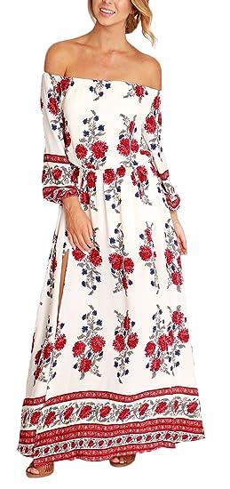 Mujer Vestidos Vestidos Largos De Verano Hombro Descubierto Cuello Barco 3/4 Manga Dulce Lindo Chic Hippie Boho Estampado Floral Vestido Playa Vestido ...