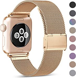 KOLEK Metal Band Compatible for Apple Watch Band 38mm 40mm 42mm 44mm, Stainless Steel Mesh Loop Adjustable Wristband for iWatch Series 6/SE 5 4 3 2 1 Women Men, Gold