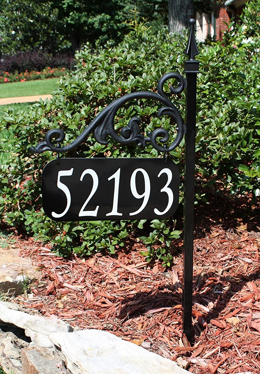 "USA Handcrafted Annandale Double Sided Reflective Address Sign 30"" Post - USA Made - Help 911, Delivery Driver, Easy To Read Day And Night"