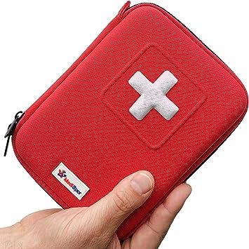 Botiquín de Primeros Auxilios de 100 piezas - Bolsa Médica de Emergencia Completa con 35 Artículos únicos para Coche el Hogar y Viaje - Incluye Bolsa de Hielo Instantánea, Torniquete, Mascarilla CPR:
