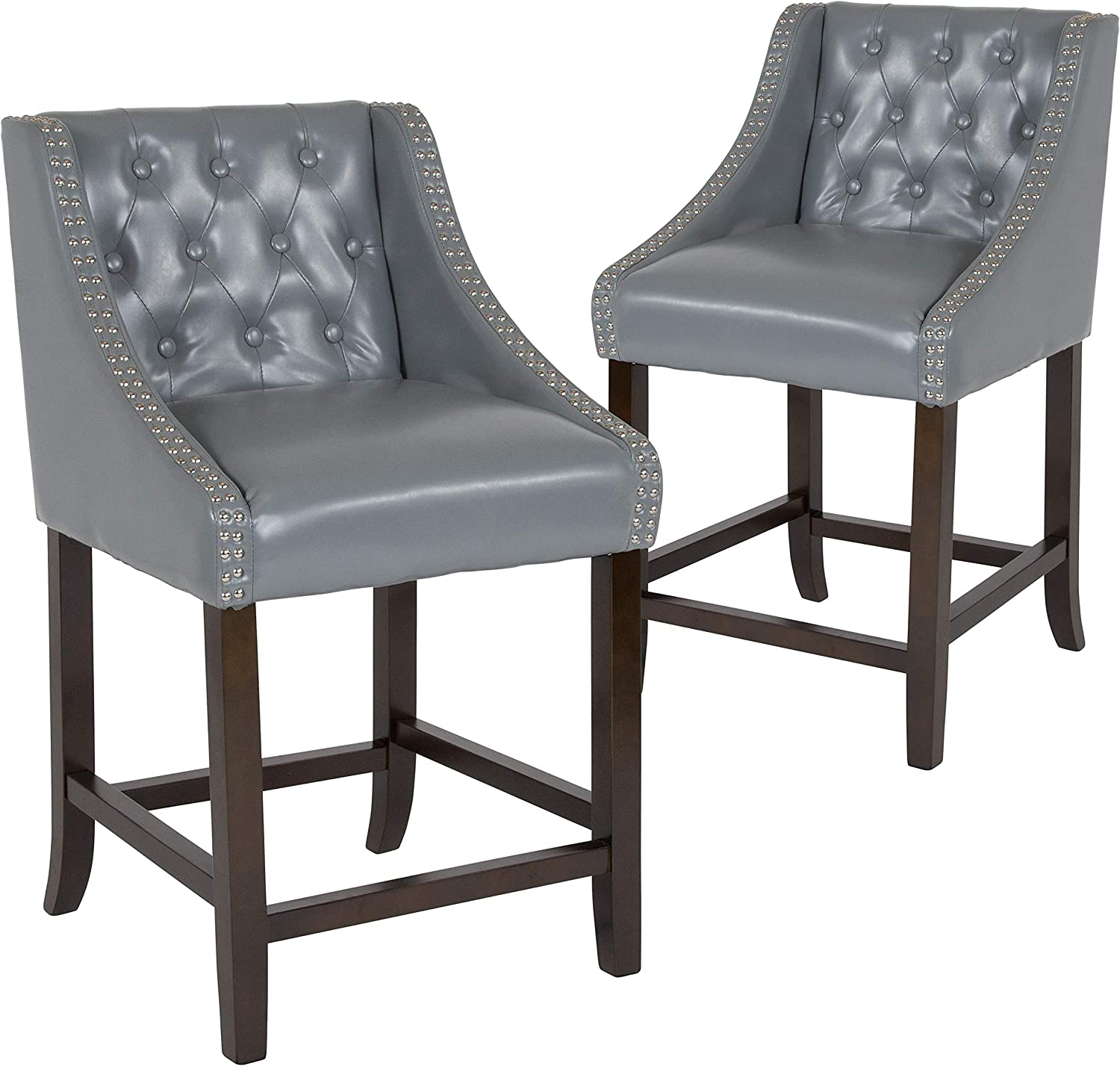 Taylor + Logan Residential Barstools, 2 Pack, Light Gray Leather