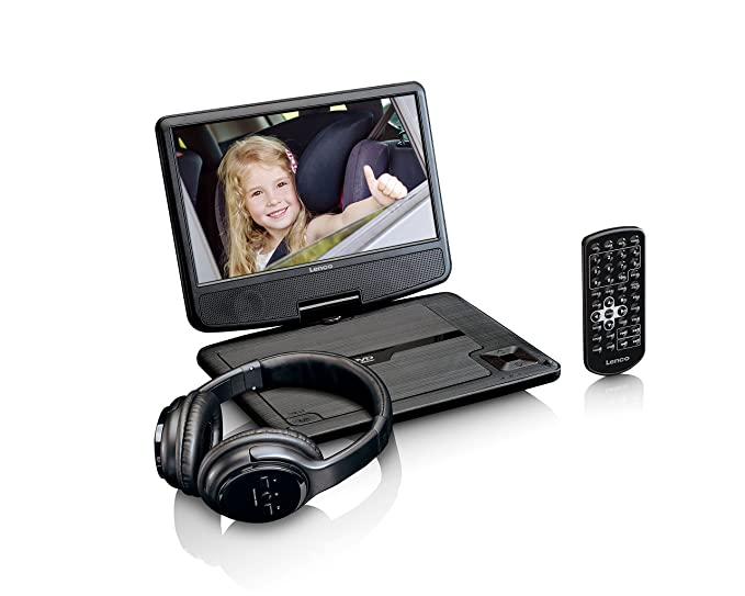 Lenco tragbarer DVD Player DVP-947BK 9 Zoll (22,5 cm), Bluetooth Kopfhörer, Kopfstützenbefestigung