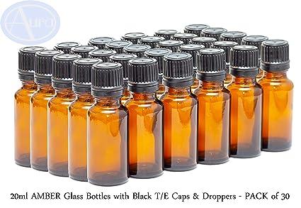 Botellas de vidrio de 20 ml con tapas y goteros negros T/E ...