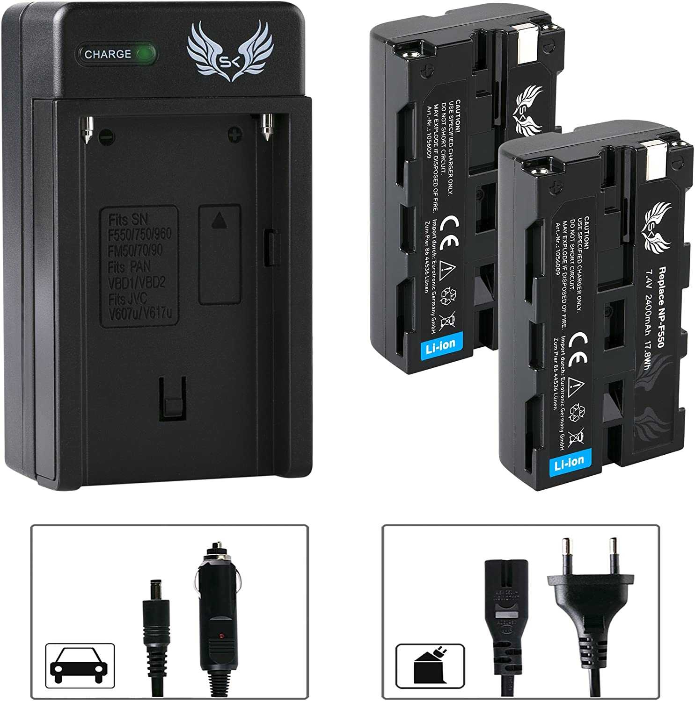 2X SK Akku Sony NP-F550 2400mAh LCD Dual Doppel Ladeger/ät f/ür Sony NP-F550 NP-F750 NP-F950 NP-F960 NP-F990 NP-FM50 NP-FM500H und weitere