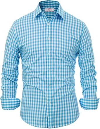 100% ALGODÓN Botones Camisa a Cuadros Hombre Azul ...