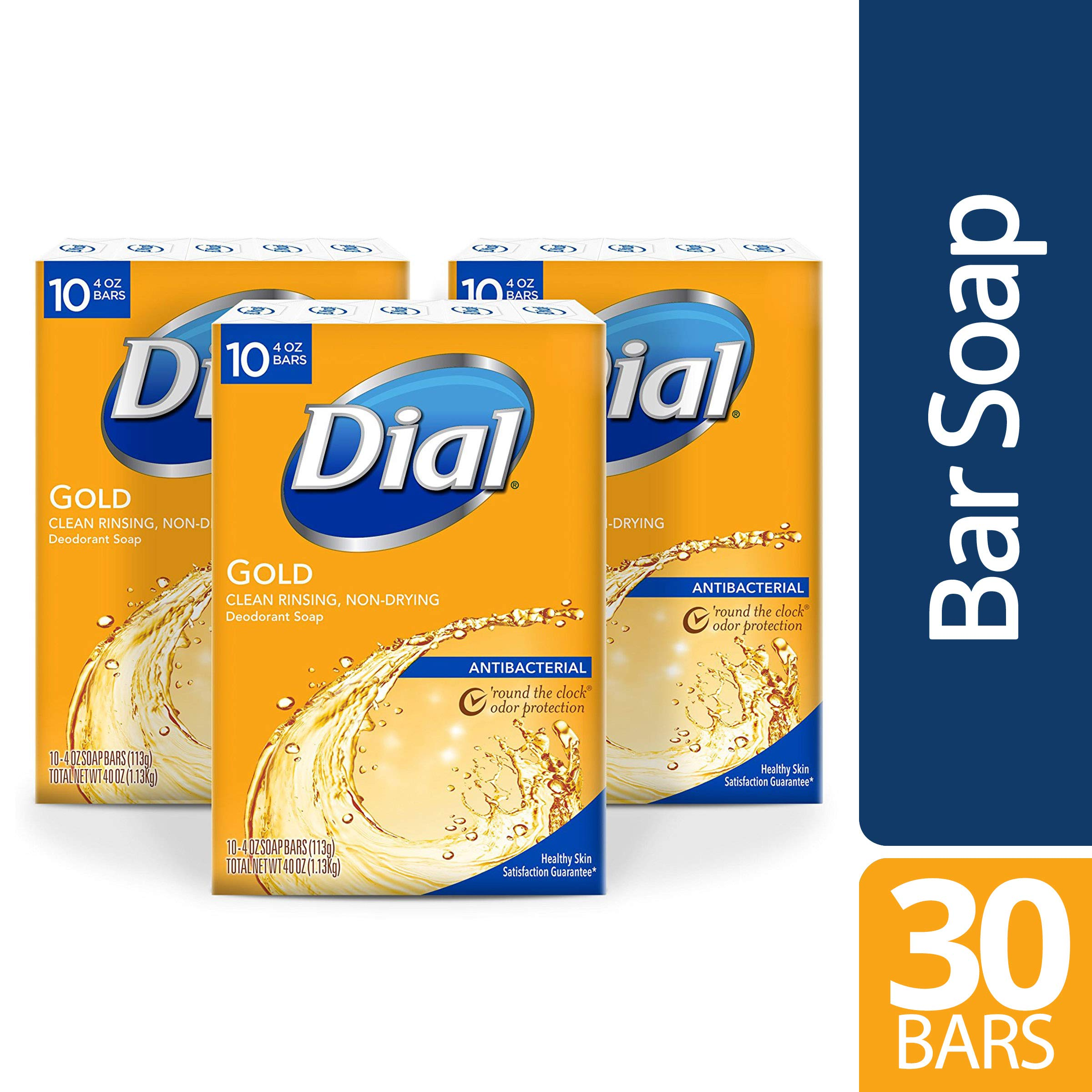 Dial Antibacterial Bar Soap, Gold, 30 Count by Dial