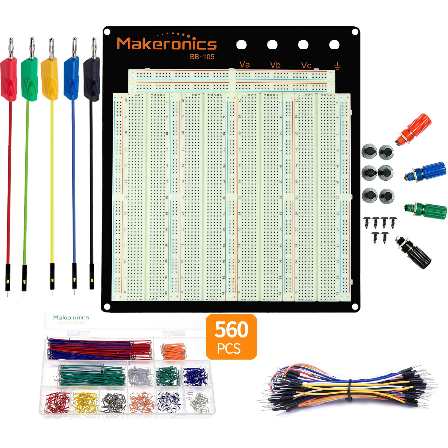 Details about  /Solderless Breadboard with Metal Backplate 3 Binding Posts 1660 Tie Points